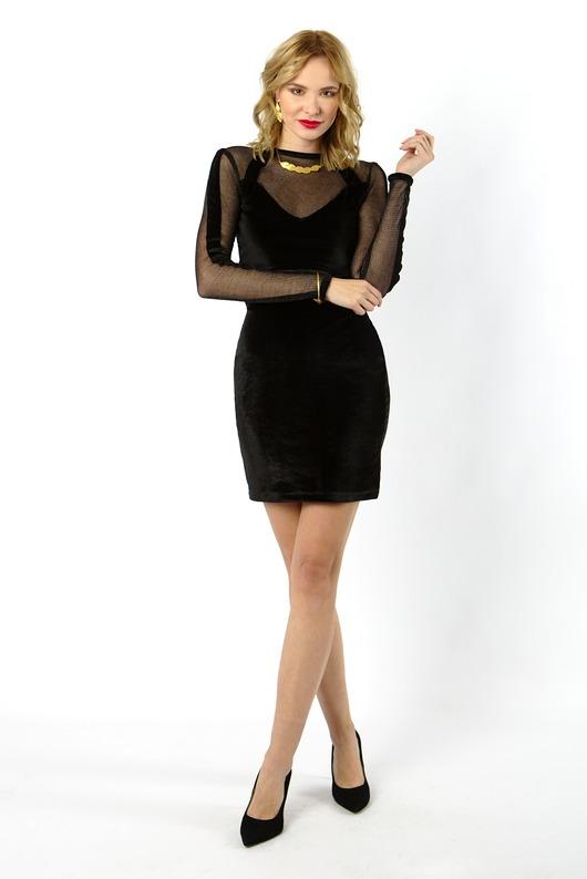 TAMASHI - czarna aksamitna sukienka