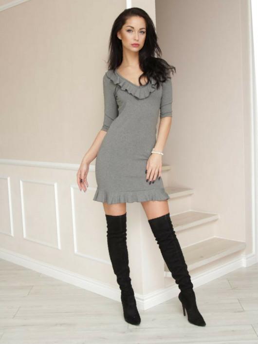Sukienka szara LL100001_RAL7039