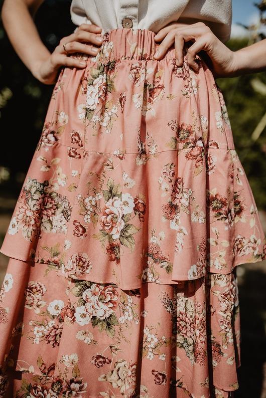 Bawełniana długa falbaniasta spódnica, ROSES