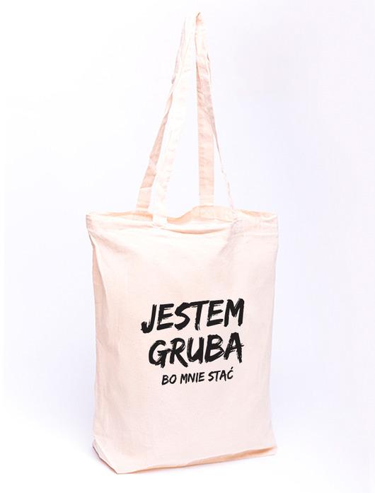 7eccecc400879 Torba z nadrukiem - JESTEM GRUBA (S) - torby na zakupy - damskie ...