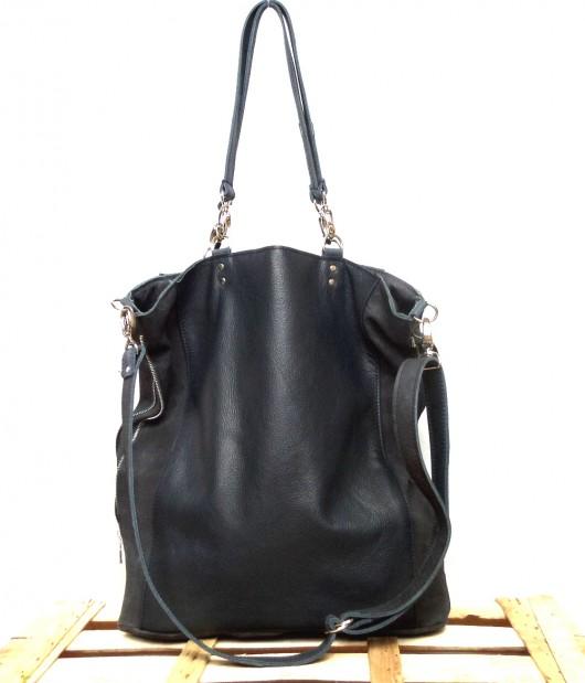 a735d5d17c057 Czarna skórzana miękka torba na ramię - torby na ramię - damskie ...