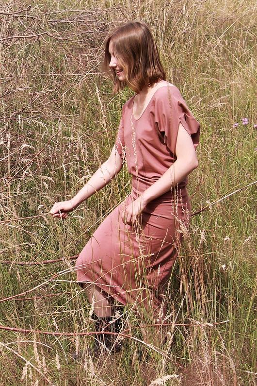 Wygodna i Kobieca Dzianinowa Sukienka TERRACOTTA