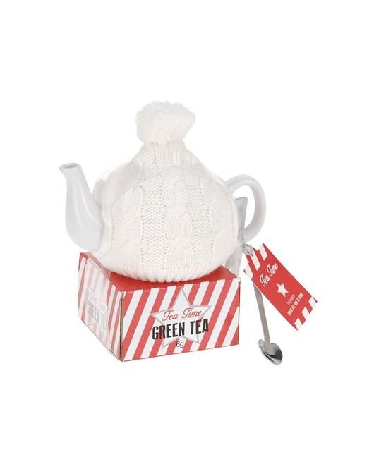 Czajnik Ceramiczny w Sweterku kolor biały - 1956601