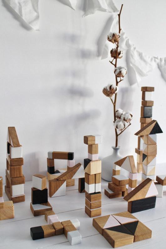 30 drewnianych, kolorowych klocków w worku - 2000241