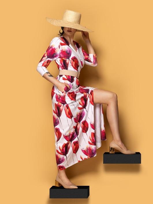 Elegancka sukienka maxi PREMIUM TULIPANY