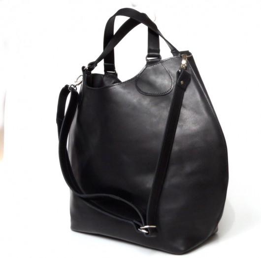 c294914744d20 Czarna duża skórzana torba - torby na ramię - damskie - Pakamera.pl