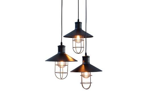 Lampa wisząca Factory 3 klosze czarna 40cm