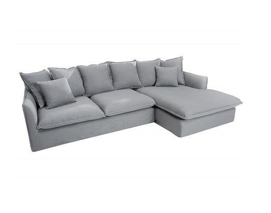 Sofa, narożnik Heaven, szary, len, 255 cm