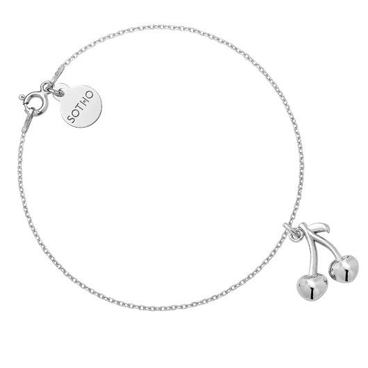 80% ZNIŻKI SOTHO Srebrna bransoletka z wisienkami - bransoletki - srebrne Biżuteria Damska bransoletki WY WY-7