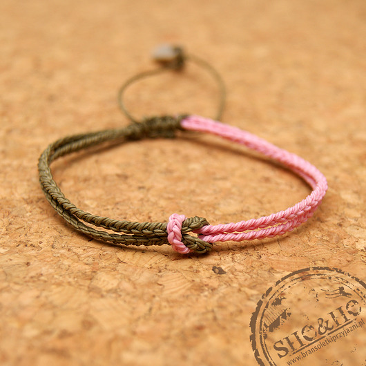 bransoletki - soutache-Knot - military , light pink