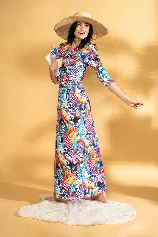 Elegancka sukienka maxi PREMIUM ZEBRA