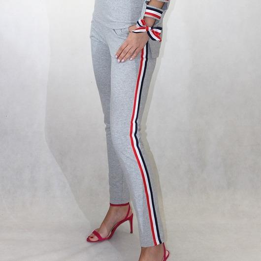 Dresowe szare spodnie z lampasami 34-46