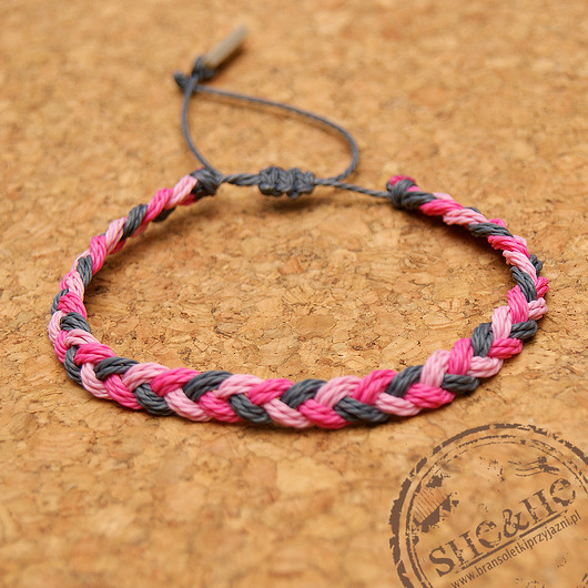 bransoletki - na sznurku-Big braid -gray, pink, light pink
