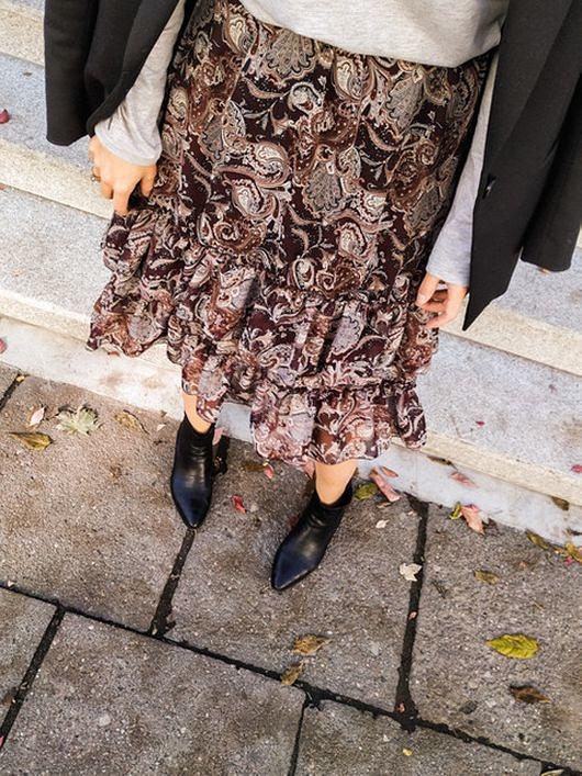 Wiskozowa spódnica PAISLEY burgundy