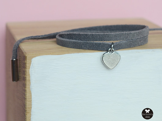 bransoletki - skóra-mini grey love colour silver