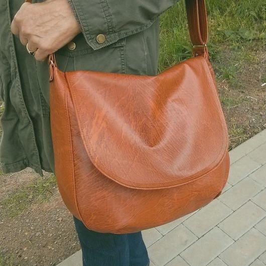 Duża brązowa torba damska listonoszka z klapą