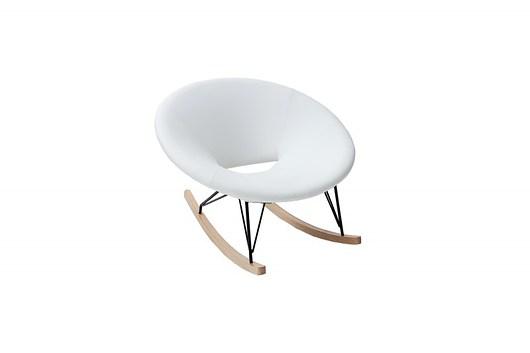Fotel bujany Flow biały drewno dębowe 104cm - 1945083