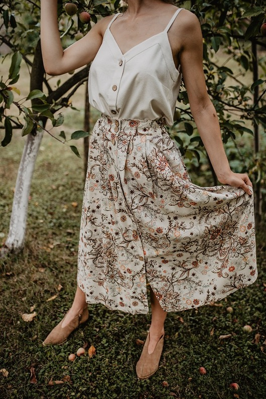 Jedwabna długa spódnica, FLORAL