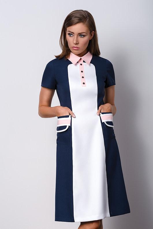 Granatowa sukienka z kołnierzykiem POLO