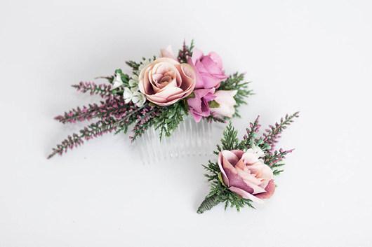 ea711d17d7858c Grzebień z kwiatami + butonierka wrzos - do włosów - spinki i klamry ...
