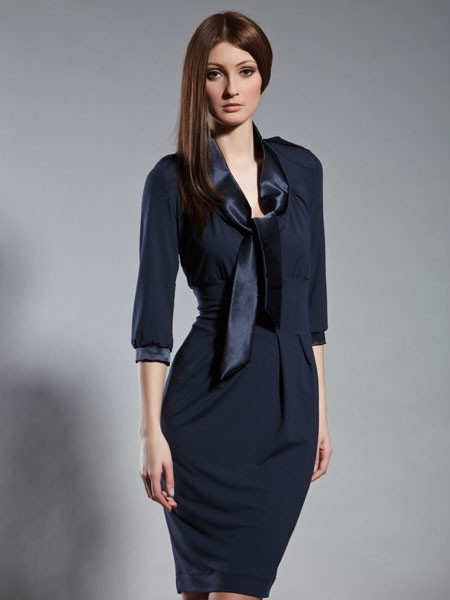 dc4c9586f0 36(S) Sukienka ołówkowa z krawatem granatowa - sukienki - Pakamera.pl