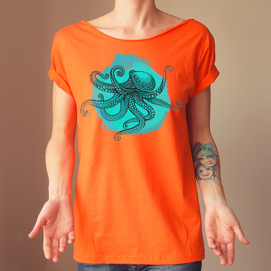 Ośmiornica Pomarańczowy krótki Oversize