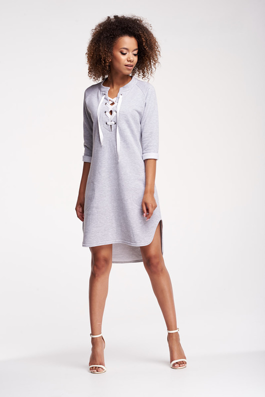 Sukienka z bawełny z wiązaniem