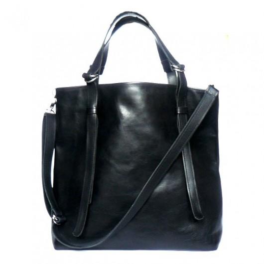 97315c0513e06 Czarna gładka skórzana torba - torby na ramię - damskie - Pakamera.pl