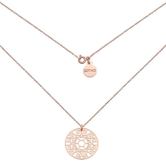 85% ZNIŻKI SOTHO Naszyjnik z rÓżowego złota z dużą rozetką - naszyjniki - inne Biżuteria Damska naszyjniki BM BM-7