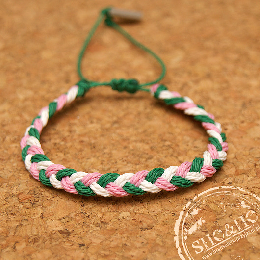 bransoletki - na sznurku-Big braid -green white, light pink