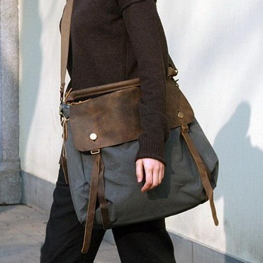 bfbae9cf4624c torby na ramię - damskie-TD2 Szara MAIL VINTAGE™ Bawełna i skóra nat.