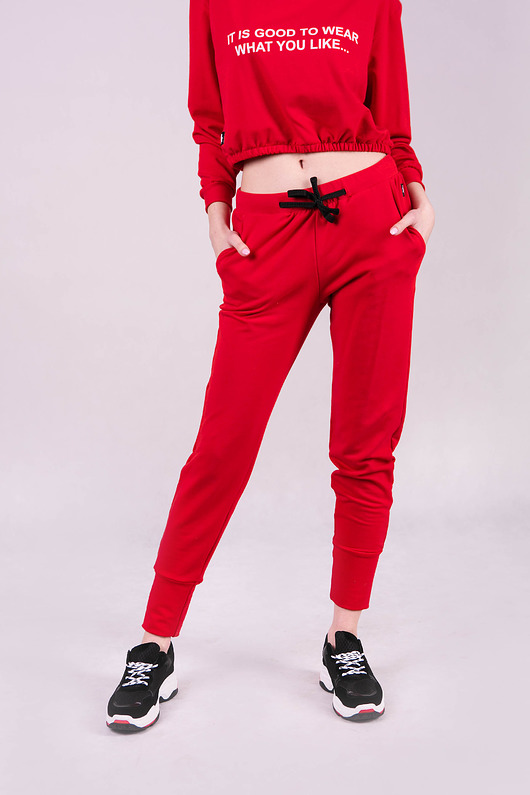 Spodnie dresowe damskie ze ściagaczem CZERWONE