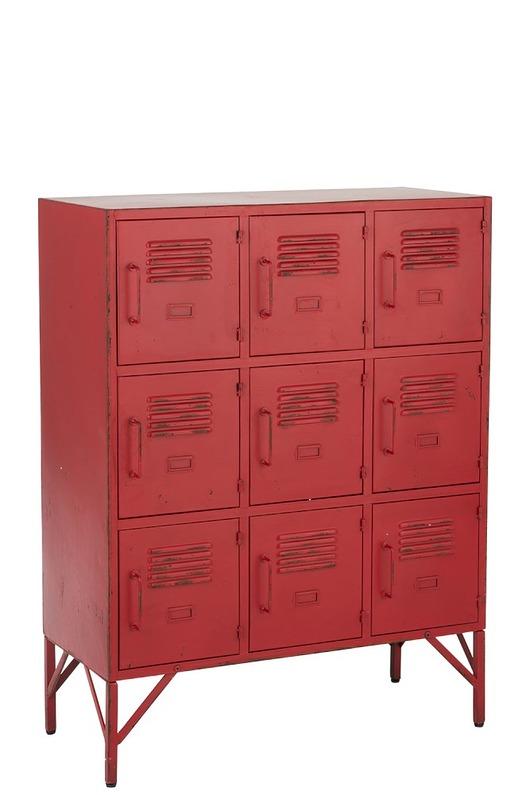 Komoda Red, 9 półek, metal, 113,5x86x41 cm