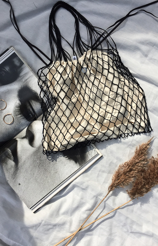 torebki do ręki-Linen Knotted Net Bag with a Soul - kremowy wore