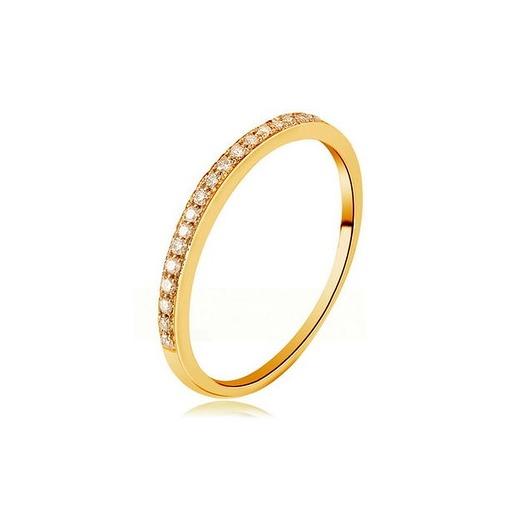Złoty pierścionek z cyrkoniami bagietami srebro 925 pozłacane