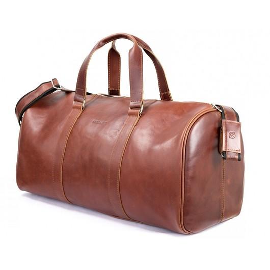a740be33c1371 akcesoria - torby i nerki - męskie-Skórzana koniakowa torba męska podróżna