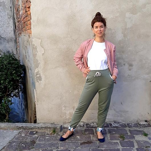 Spodnie Classic - pastelowe liście