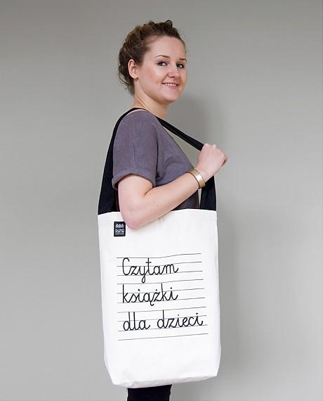 torby na zakupy - unisex-TORBA Czytam książki dla dzieci CZARNE UCHO