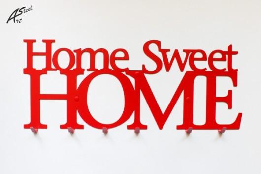 Wieszak na ubrania home sweet home czerwony dodatki plakaty ilustracje obrazy inne Home ubrania
