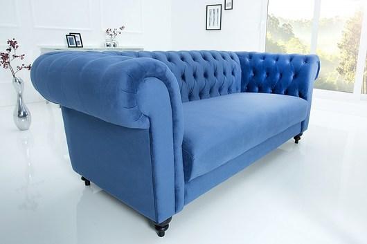 Sofa Chesterfield niebieska aksamit 200cm lux - 1924732