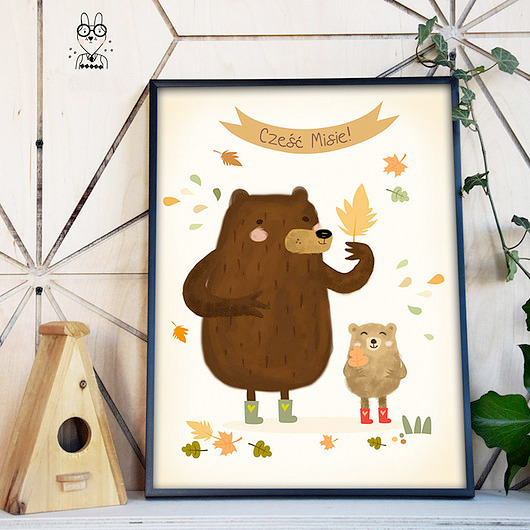 Cześć Misie Duży Plakat Dla Dzieci 50x70cm Pakamerapl