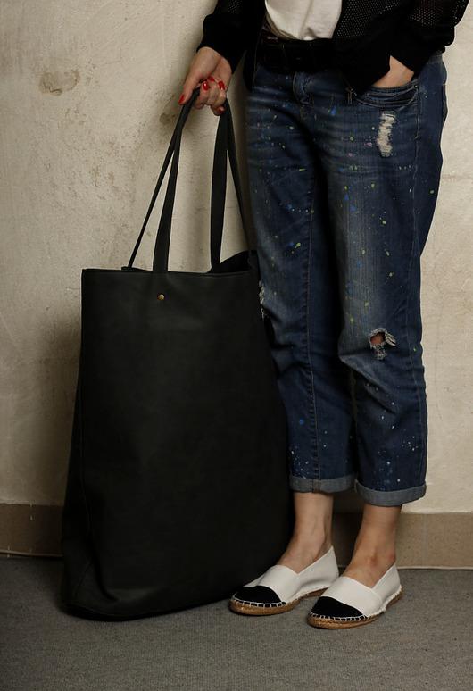 247f03e4e85fa torby XXL - damskie-Mega Shopper bag grafit   duża torba na codzień