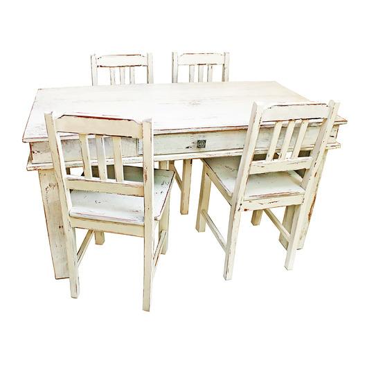 Postarzany Stół Z Krzesłami Dębowy Pakamerapl