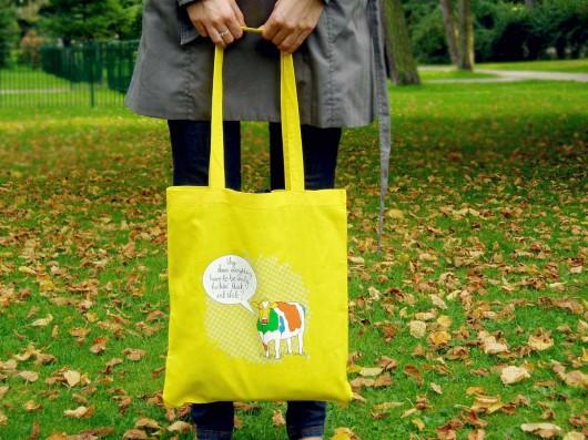 4f3390105098f torby na zakupy - damskie-Eko torba na ramię - na zakupy A4 - cytrynowy