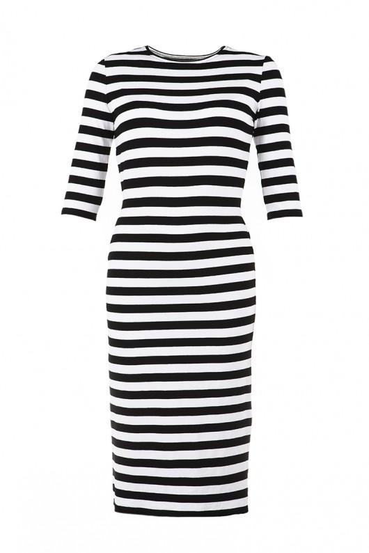 Moda - sukienki - midi-Sukienka tuba MIDI STRIPED DRESS