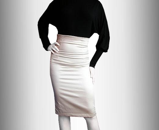 Ołówkowa spódnica z wysokim stanem :: ecru :: 38