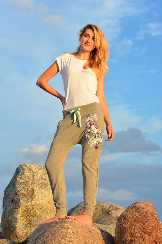 Spodnie Kwiaty damskie - baggy pants