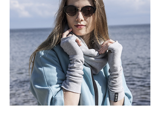 rękawiczki-long gloves / light gray cashmere