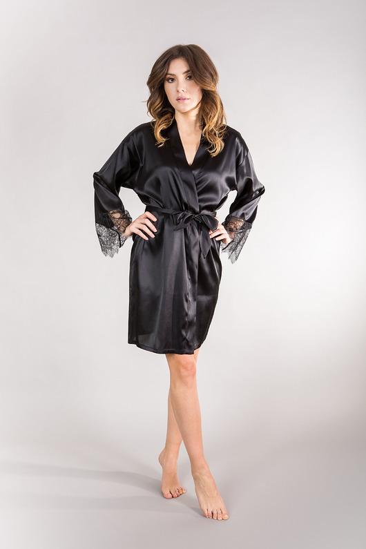 All Black Silk Robe - 2013818
