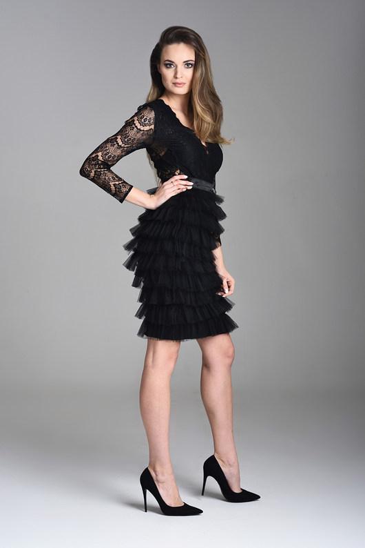 Czarna spódnica tiulowa z falbankami midi